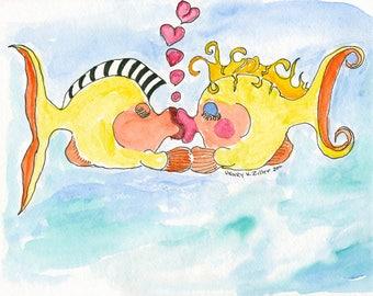 kissing fish, greeting card, artzee,