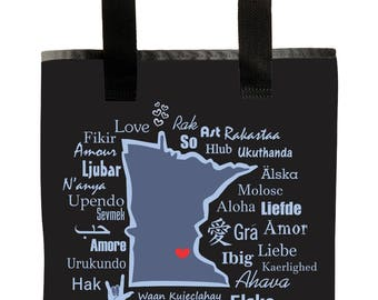 Handmade-Reuseable Market Bag - Made from Recycled Materials - Eco-Friendly - Washable - Grocery Bag - Minnesota One Love