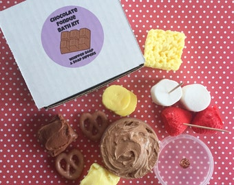 Chocolate Fondue Bath Kit - Whipped Chocolate Soap - Soap Dippers - Food Soap - Dessert Soap - Fluffy Bath Whip