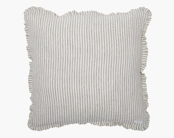MOA linen – pillow - pillow cases - pillow - stripes pillowcase - with ruffle and zipper