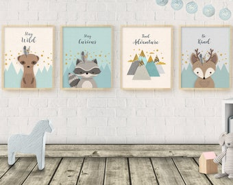 Woodland Nursery, Nursery decor, Nursery set of 4, Meerkat, Suricata, Deer raccoon, Neutral gender nursery, Baby Shower Gift, Forest friends