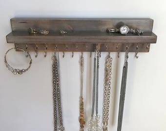 Jewelry Organizer Holder, Necklace Organizer, Wall Mounted Distressed Rustic Wood, Holds Necklaces Bracelets