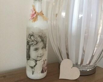 Handpainted decoupaged decorative bottle in shabby chic vintage design ideal gift olive oil dispenser