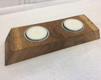 Tea light holder candle holder oak plank
