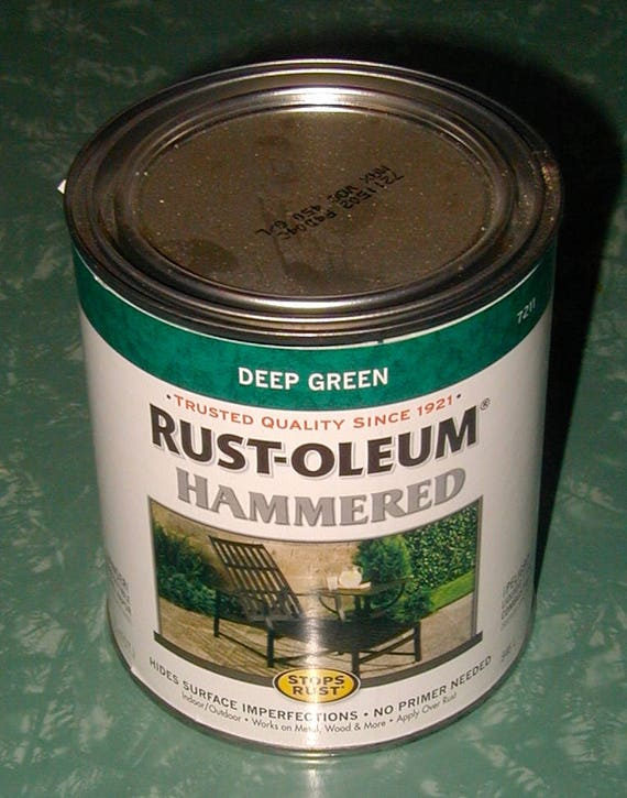 Dark green metallic hammered metal paint rust oleum rust prevention decorative arts crafts hobby for Rustoleum exterior metal paint