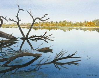 reflections - water - hespeler - watercolour - speed river - cambridge - Hespeler mill pond - blue - river - giclee print