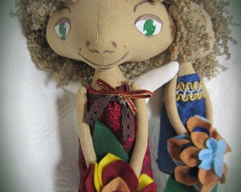Flower Elf, OOAK, Fabric Doll, Rag Doll, Gift Doll, Collection Doll, Wool Hair Doll,  Braun Hair Doll, Author's Pattern, Home Decor,