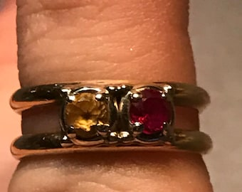 14k Gold Ruby Citrine Birthstone Ring Double Band