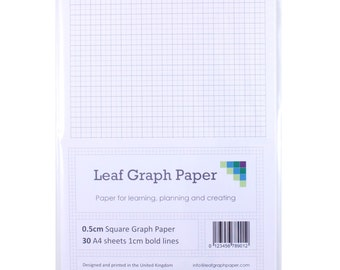 A4 Graph Paper Pack, 0.5cm 5mm Square, 30 Loose-Leaf Sheets, Grey Grid Lines