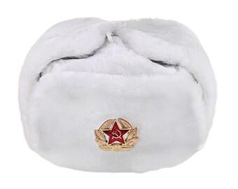 Russian / USSR Army Winter White Fur Ushanka Hat + Soviet Red Star Badge Sizes S,M,L,XL,XXL