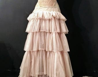 SOLD -  Antique Lace Dress with Multi-Layered Pink Tulle Skirt