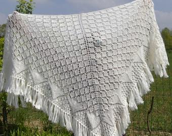 Hand knitted shawl. White shawl