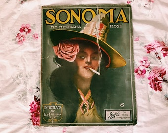 "ANTIQUE Sheet Music in Frame - ""My Mexicana Rose"""