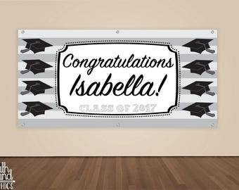 Graduation Banner - Custom Graduation Party Photo Backdrop - Personalized Graduation Sign - College / High School Graduate Banner Vinyl Sign