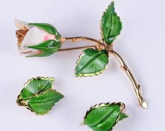 Vintage Giovanni Enamel Earrings and Pin Set