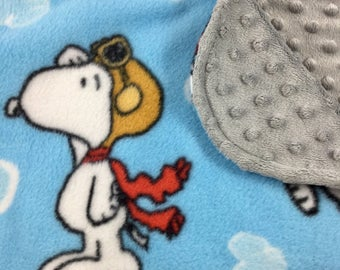 Snoopy Baby Blanket-The Red Baron Gray Minky Baby Blanket-Snoopy Gender Neutral Baby Shower Gift-Baby Shower Gift for Baby Boy or Baby Girl