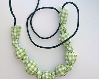 Green gingham fabric and paper bead necklace