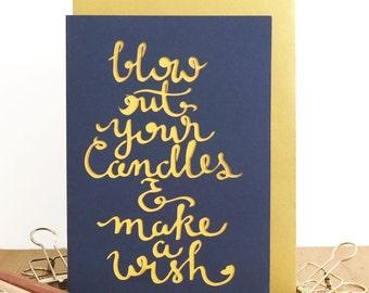Birthday candles card, Boyfriend birthday card, Colleague birthday card, Card for men, Calligraphy birthday card, Minimal birthday card