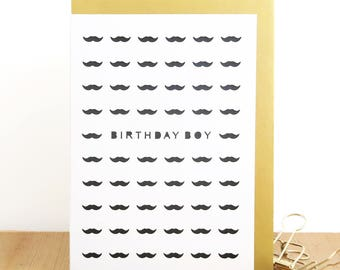 Birthday boy card,  Mustache card, Husband birthday card, Boyfriend birthday card, Male colleague card, Birthday card for men, Card for him