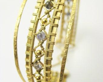 ripple cuff - iolite + brass woven bracelet. size medium, 7.