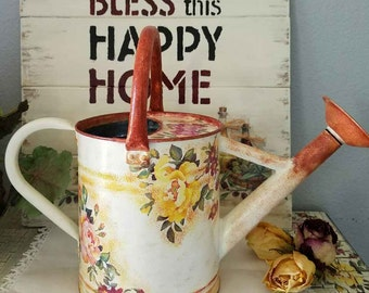 """Metal Watering Can Decoupage,  Watering Can  """"Rose Garden"""",   Vintage Hand Painted Watering Can,  Special Gift"""