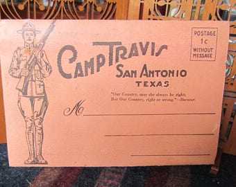 World War I Accordion Fold Postcards from Camp Travis Texas