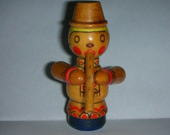 Wooden  Ukrainian musician, vintage 70s , kids room decor, Kids gift, collectible,  eco friendly toy