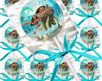 Moana or Maui or Baby Moana PERSONALIZED Lollipops, Custom Name and Birthday , 12 pcs w/ Turquoise or Hot Pink Bows