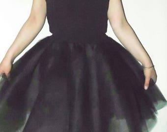 tutu dress, black tutu dress, black tutu, tulle dress, black prom dress, adult tutu dress, party black tulle dress, midi tutu dress,