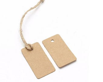 100 Pcs Rectangle Kraft Paper Tags