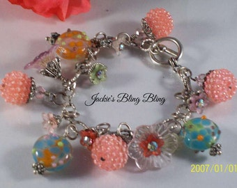 Multi colored beaded lampwork womens silver bracelet
