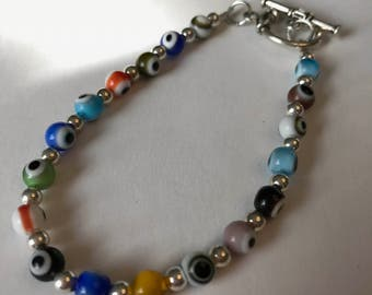 Multicolor Eye Bead Bracelet