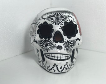 Sugar Skull  Glaze Painted Sculpture