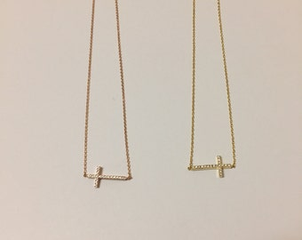 Small cross Necklace, Sterling Silver & rose gold Chain