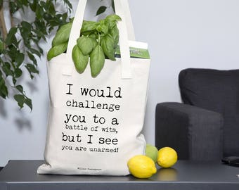 Market Bag, Shakespeare Tote Bag, funny canvas tote, big tote bag, oversized tote, fabric tote bag