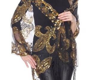 Gold Fleur De Lis Sequined Shawl