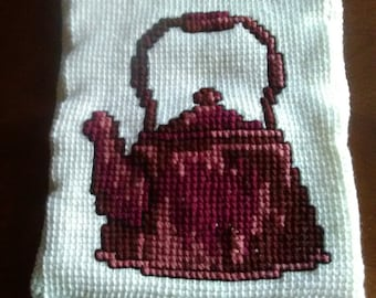 Tea kettle and rooster pillowcase