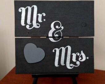 Mr. & Mrs. - Hand Painted Wood Sign, Handmade