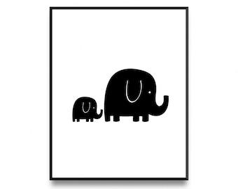 Elephant wall print, elephant design print, elephant print, elephant art print, elephant baby art, nursery art, elephant art, nursery decor