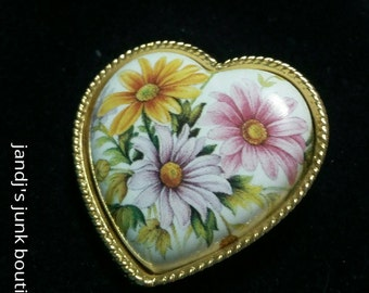 Porcelain painted floral heart brooch