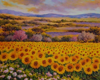 Original painting. Landscape. Sunflowers in Tuscany. Artwork by Paolo Bigazzi.