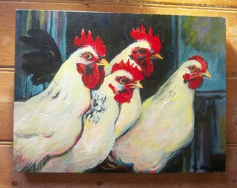 """Original Acrylic Painting on Canvas  'Hens and Roosters"""""""