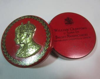 1937  Tiny Sample Biscuit Tin for the  Coronation of King George VI and Queen Elizabeth