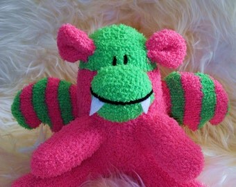 dragon pink, green, Stuffed Animal Hand Stitched Sock Critter  stuffy cuddly toy fuzzy monster lovies