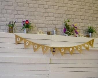 Oggi Sposi Hessian Burlap Wedding Celebration Engagement Party Banner Bunting Decoration colorful hearts black white text