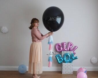 Baby Shower Balloon, Gender Reveal Balloon, Black Balloon, Tail Tassel, Tassel, Tissue Paper, DIY kit, Boy, Girl, Christening