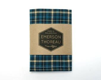Blue and Cream Plaid Pocket Square / Navy Blue Homespun Cotton Spring Wedding Groomsmen Matching Tie Handkerchief Hanky Teal White Stripe
