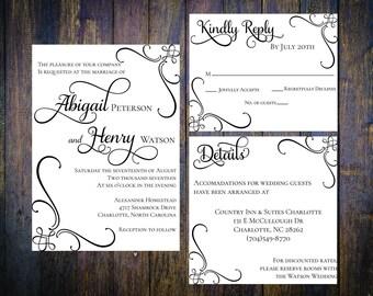 Beautiful, Classic Wedding Invitation Template, Customizable, Print at Home, RSVP, Insert Card