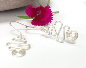 Sterling Silver Squiggle Earrings, Silver Earrings, Statement Earrings, Drop Earrings, Dangle Earrings, Dangly Earrings, Gift for Her
