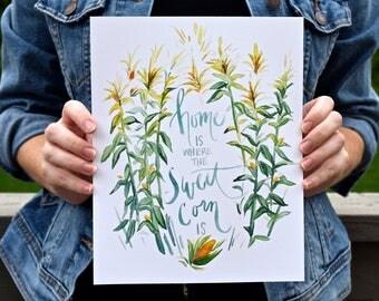 Sweet Corn Watercolor Art Print; Midwest Art Print